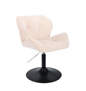 Kosmetická židle MILANO VELUR na černém talíři - krémová