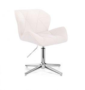Kosmetická židle MILANO VELUR na stříbrném kříži - bílá
