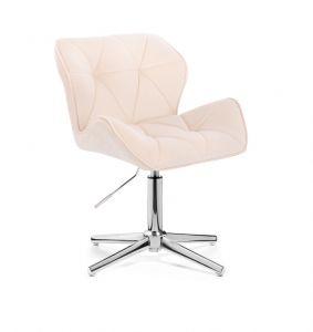 Kosmetická židle MILANO VELUR na stříbrném kříži - krémová