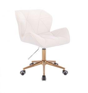 Kosmetická židle MILANO VELUR na zlaté podstavě s kolečky - bílá