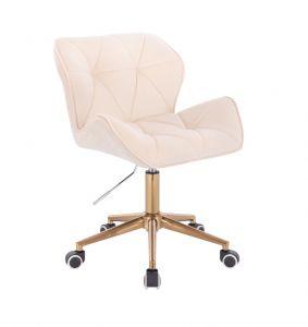Kosmetická židle MILANO VELUR na zlaté podstavě s kolečky - krémová