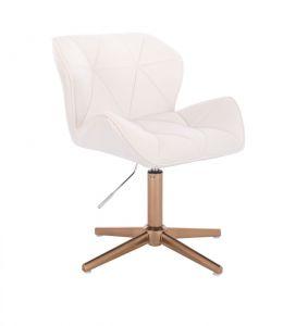 Kosmetická židle MILANO VELUR na zlatém kříži - bílá