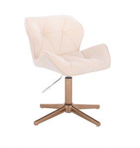 Kosmetická židle MILANO VELUR na zlatém kříži - krémová