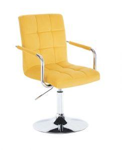 Kosmetická židle VERONA VELUR na stříbrném talíři - žlutá