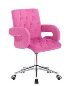 Židle BOSTON VELUR na stříbrné podstavě s kolečky - růžová