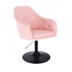 Kosmetická židle ROMA na černé kulaté podstavě - růžová