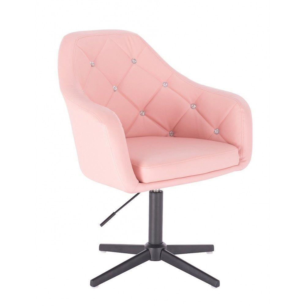 Kosmetická židle ROMA na černém kříži - růžová