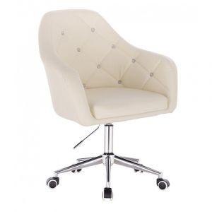 Kosmetická židle ROMA na podstavě s kolečky - krémová