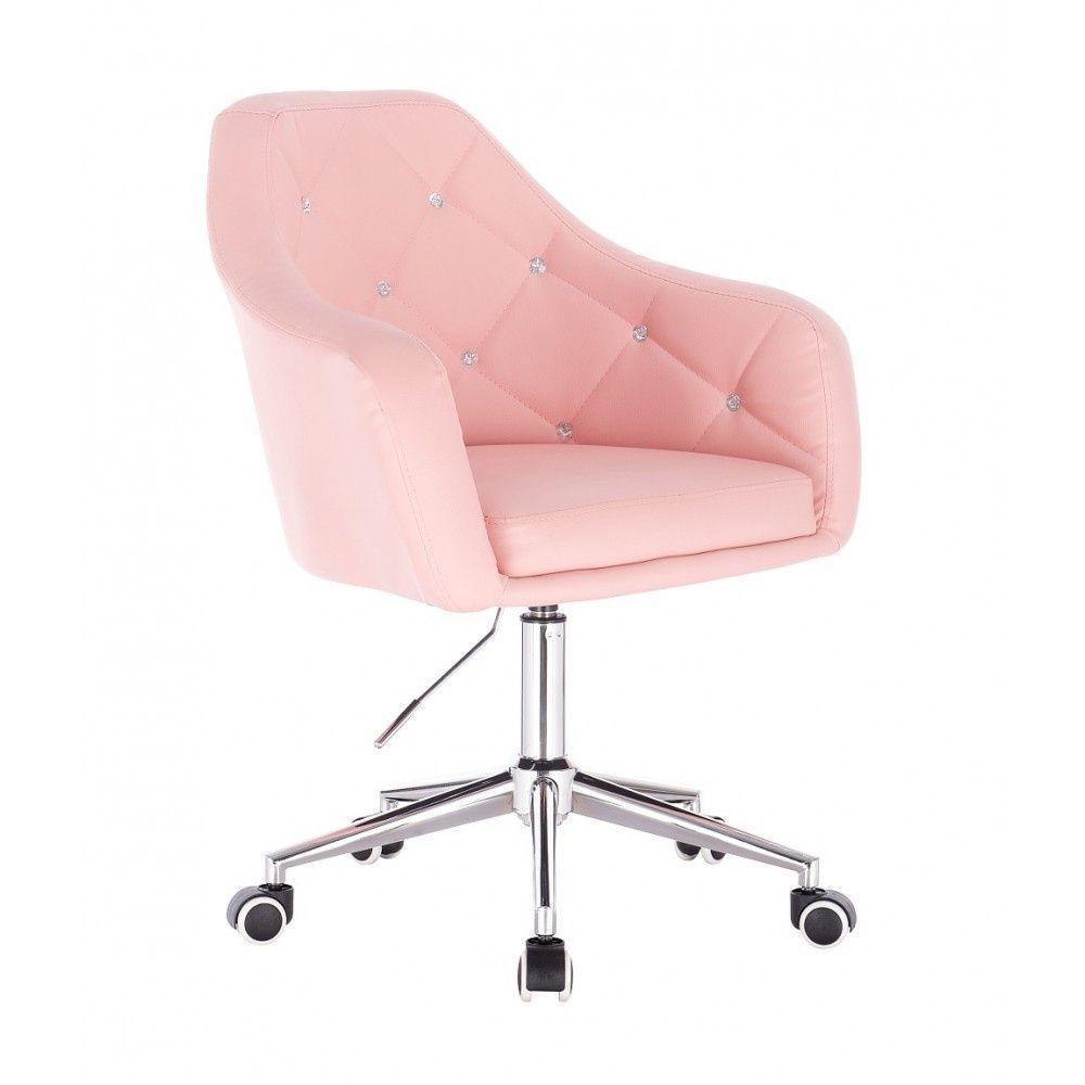 Kosmetická židle ROMA na podstavě s kolečky - růžová