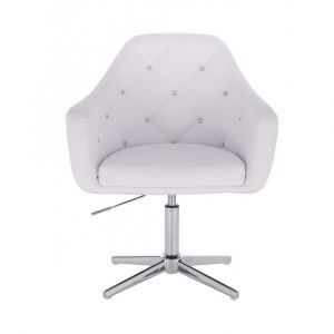 Kosmetická židle ROMA na stříbrném kříži - bílá