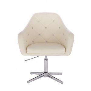Kosmetická židle ROMA na stříbrném kříži - krémová