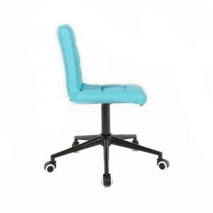 Kosmetická židle TOLEDO na černé podstavě s kolečky - tyrkysová