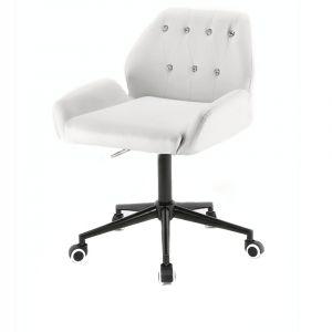 Židle LION na černé podstavě s kolečky - bílá