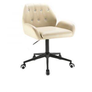Židle LION na černé podstavě s kolečky - krémová
