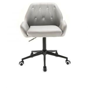 Židle LION na černé podstavě s kolečky - šedá