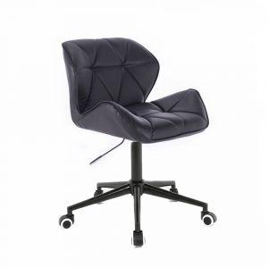 Židle MILANO na černé podstavě s kolečky - černá