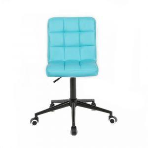 Židle TOLEDO na černé podstavě s kolečky - tyrkysová