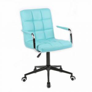 Židle VERONA na černé podstavě s kolečky - tyrkysová