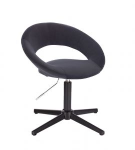 Židle NAPOLI VELUR na černém kříži - černá