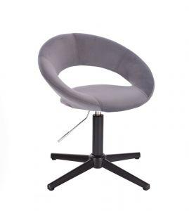 Židle NAPOLI VELUR na černém kříži - tmavě šedá