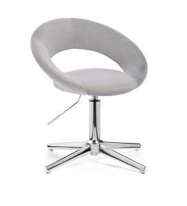 Židle NAPOLI VELUR na stříbrném kříži - světle šedá