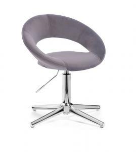 Židle NAPOLI VELUR na stříbrném kříži - tmavě šedá