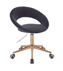 Židle NAPOLI VELUR na zlaté podstavě s kolečky - černá