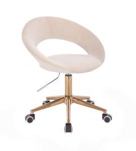 Židle NAPOLI VELUR na zlaté podstavě s kolečky - krémová