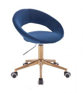 Židle NAPOLI VELUR na zlaté podstavě s kolečky - modrá
