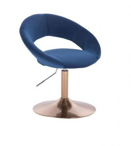 Židle NAPOLI VELUR na zlatém talíři - modrá
