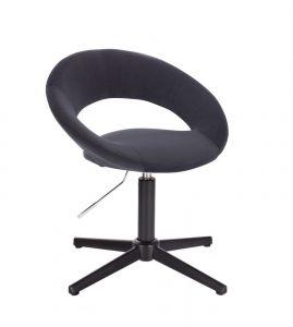 Kosmetická židle NAPOLI VELUR na černém kříži - černá