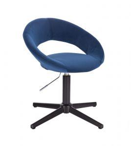 Kosmetická židle NAPOLI VELUR na černém kříži - modrá