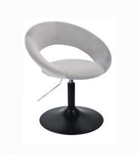 Kosmetická židle NAPOLI VELUR na černém talíři - světle šedá