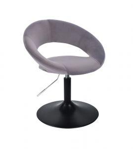 Kosmetická židle NAPOLI VELUR na černém talíři - tmavě šedá