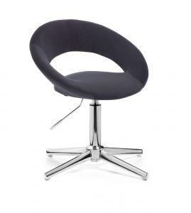 Kosmetická židle NAPOLI VELUR na stříbrném kříži - černá