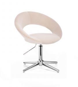 Kosmetická židle NAPOLI VELUR na stříbrném kříži - krémová