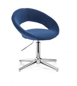 Kosmetická židle NAPOLI VELUR na stříbrném kříži - modrá