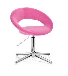 Kosmetická židle NAPOLI VELUR na stříbrném kříži - růžová
