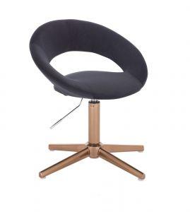 Kosmetická židle NAPOLI VELUR na zlatém kříži - černá