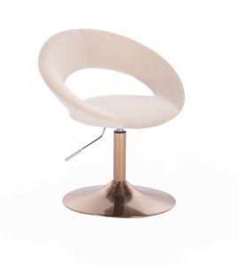 Kosmetická židle NAPOLI VELUR na zlatém talíři - krémová
