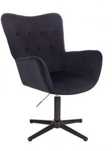 Židle NORDEN VELUR na černém kříži - černá