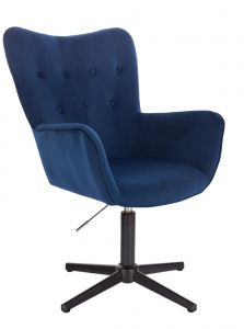 Židle NORDEN VELUR na černém kříži - modrá
