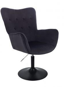 Židle NORDEN VELUR na černém talíři - černá