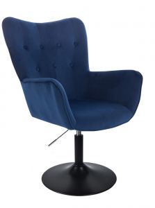 Židle NORDEN VELUR na černém talíři - modrá