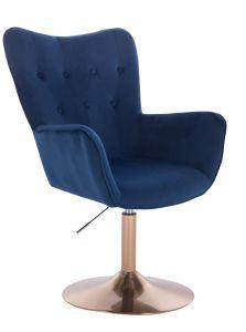 Židle NORDEN VELUR na zlatém talíři - modrá