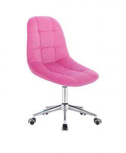 Kosmetická židle SAMSON VELUR na stříbrné základně s kolečky - růžová