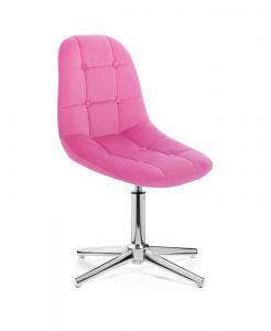 Kosmetická židle SAMSON VELUR na stříbrném kříži - růžová