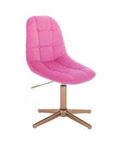 Kosmetická židle SAMSON VELUR na zlatém kříži - růžová