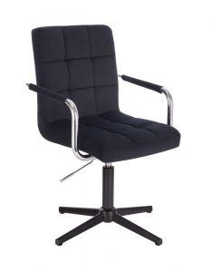 Kosmetická židle VERONA VELUR na černém kříži - černá