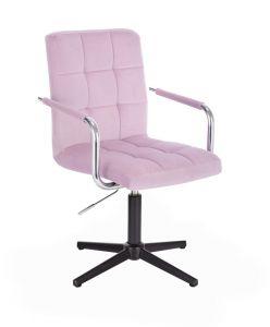 Kosmetická židle VERONA VELUR na černém kříži - fialový vřes